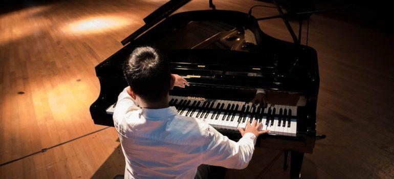 A man playing piano