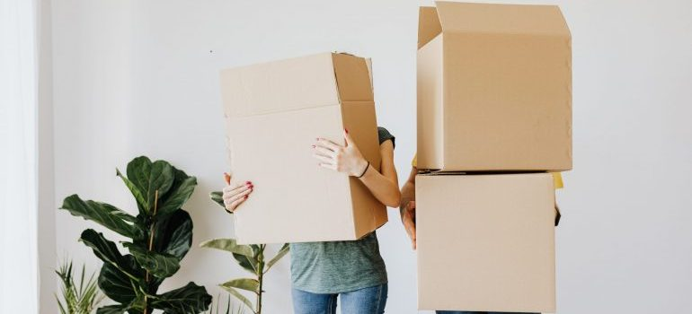 Two people carrying cardboard boxes instead of hiring movers in White Plains NY to do it for them.