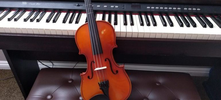 A musical instruments, violin, and piano